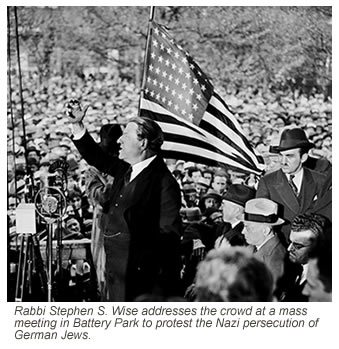 Rabbi Stephen S. Wise addresses the crowd at a mass meeting in Battery Park to protest the Nazi persecution of German Jews.  The meeting followed a protest march through lower Manhattan in which an estimated 100,000 people took part.