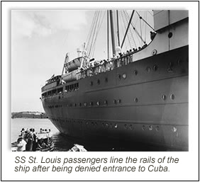 SS St. Louis passengers line the rails of the ship after being denied entrance to Cuba.